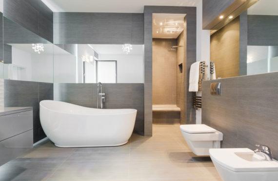 41889875 - designed freestanding bath in gray modern bathroom